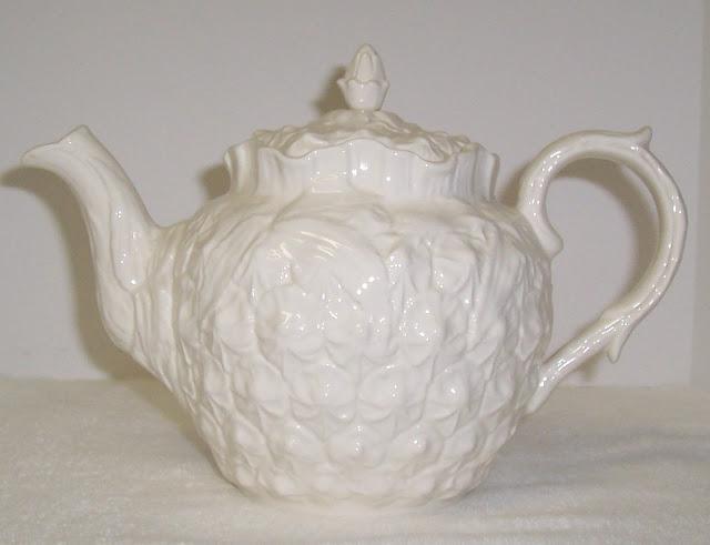 White Spode Teapot Imperial Fancies Pattern Pineapple