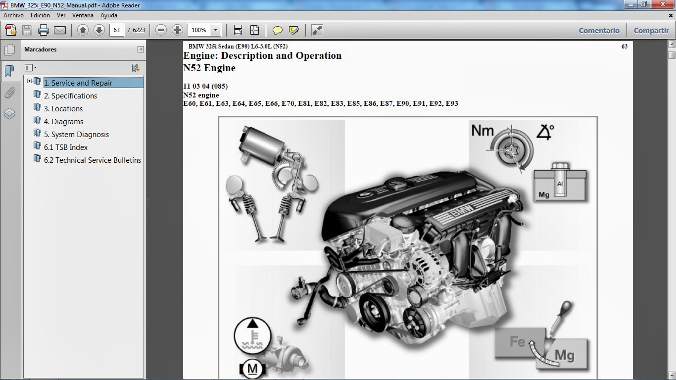 Taller del modelo BMW 325i chassis E90 motor N52 L6 3.0 lts.
