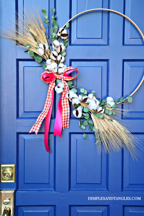 fall wreath, hoop wreath, cotton stems, wheat bundles, blue front door,