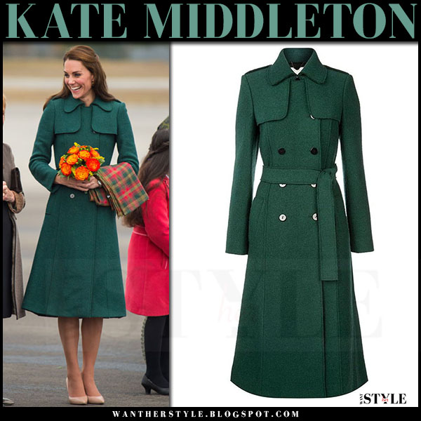 Kate Middleton in green belted coat in Yukon on September 27