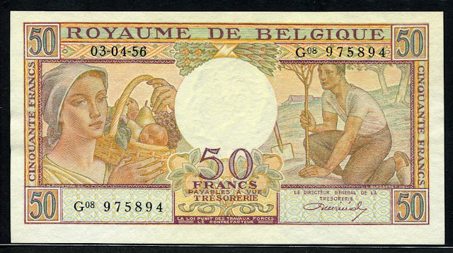 Foreign currency money Belgian franc note