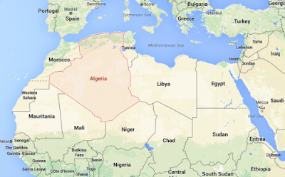 Gambar peta negara Aljazair atau Algeria