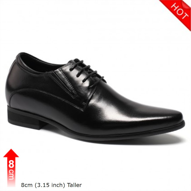 Black Height Increasing Men Shoes For Height Occident Dress Elevator Shoes Taller 8cm/3.15 Inch