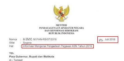 Surat Edaran Menpan RB Tentang Pengadaan CPNS Tahun 2016 Tertanggal 25 Juli