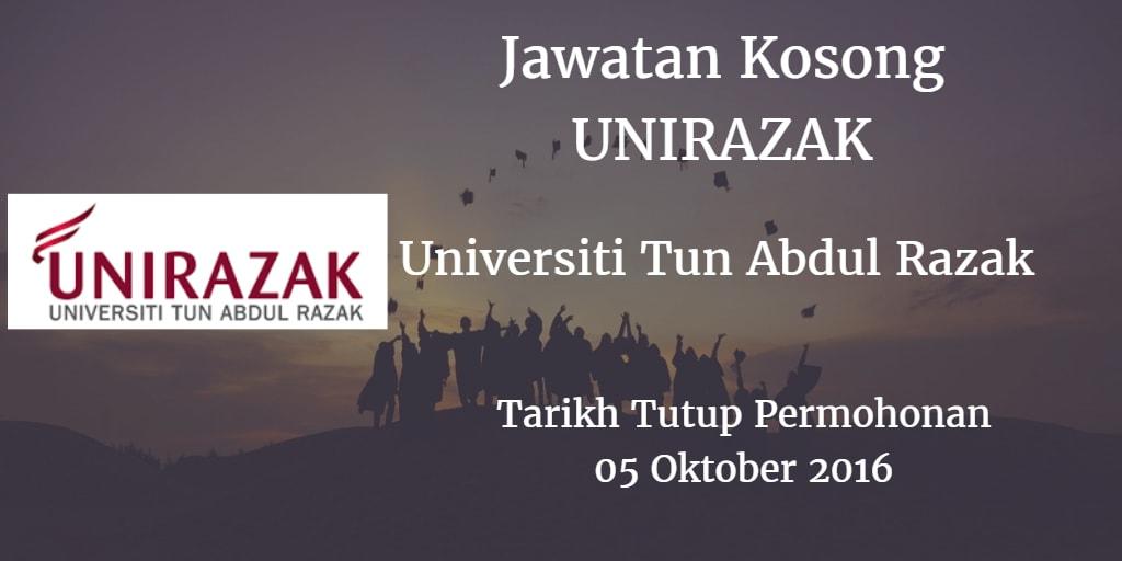 Jawatan Kosong UNIRAZAK 05 Oktober 2016