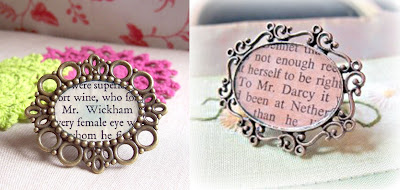 image pride and prejudice rings mr darcy mr wickham jane austen upcycled book page