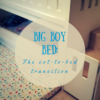 Big boy bed: The cot to bed transition (title text, overlaid on a picture of bunkbeds)