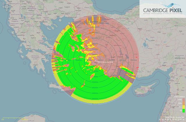 Θεωρητική κάλυψη Τουρκικού ΑΣΕΠ E-7T πετώντας σε ύψος 30.000 ποδιών.