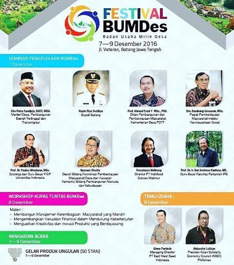 Event Batang | 7-9 Desember 2016 | Festival Badan Usaha Milik Desa (BUMDes) 2016