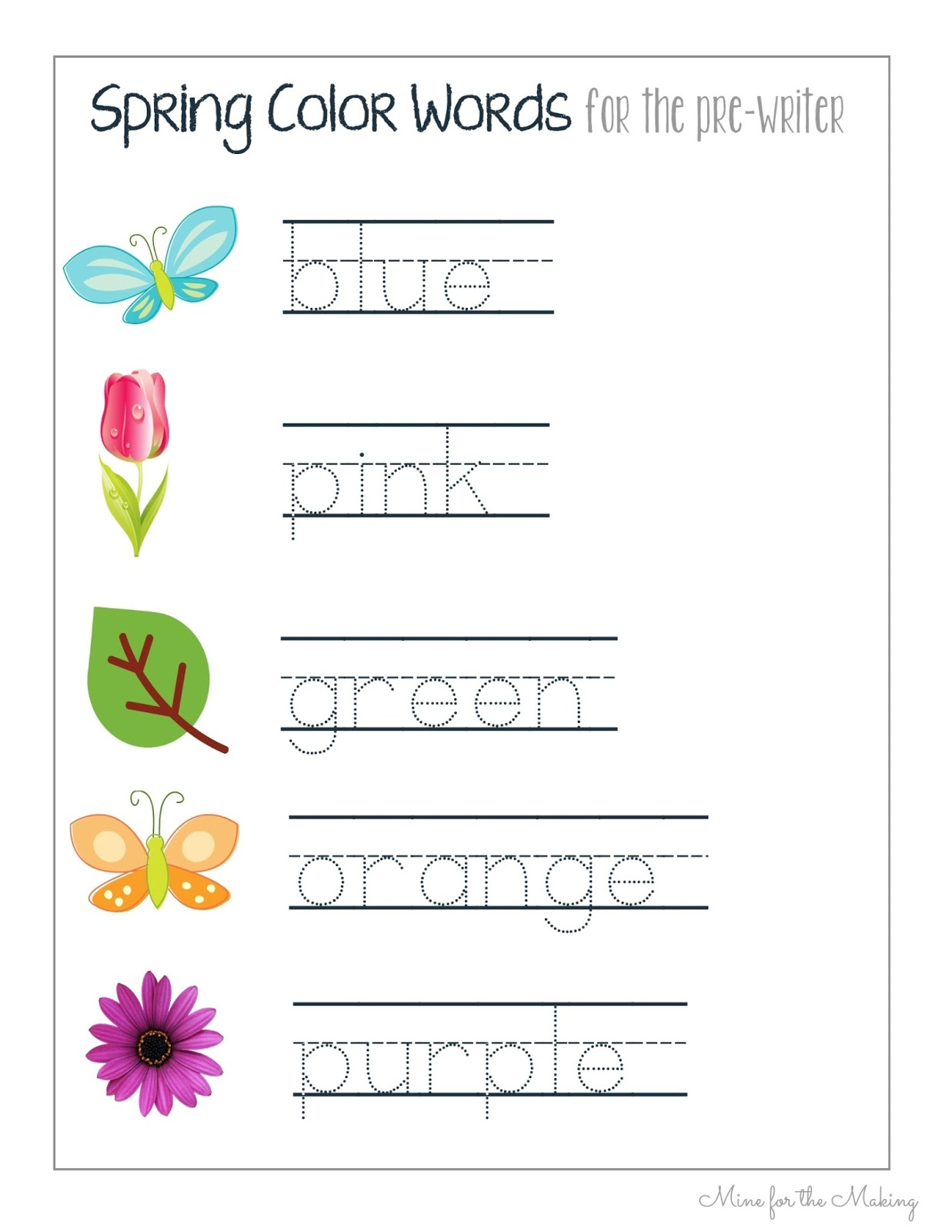 Tot School Tuesday Spring Pre Writing Prints