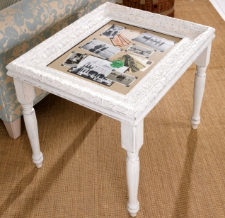 diy curio table with picture fram