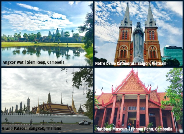 Angkor Wat in Siem Reap Cambodia, Notre-Dame Cathedral in Ho Chi Minh City Vietnam, Grand Palace in Bangkok Thailand, National Museum in Phnom Pehn Cambodia