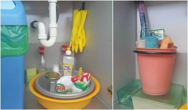 Kukice - vješanje gumenih rukavica u ormariću ispod sudopera