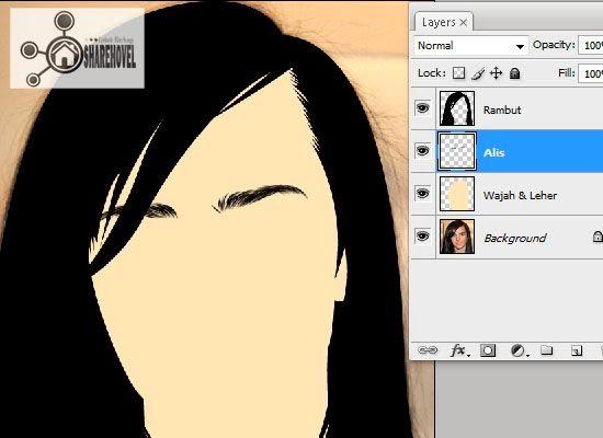 hasil stroke path dari pola vector alis yang telah dibuat - tutorial membuat vector di photoshop - membuat foto menjadi kartun dengan photoshop