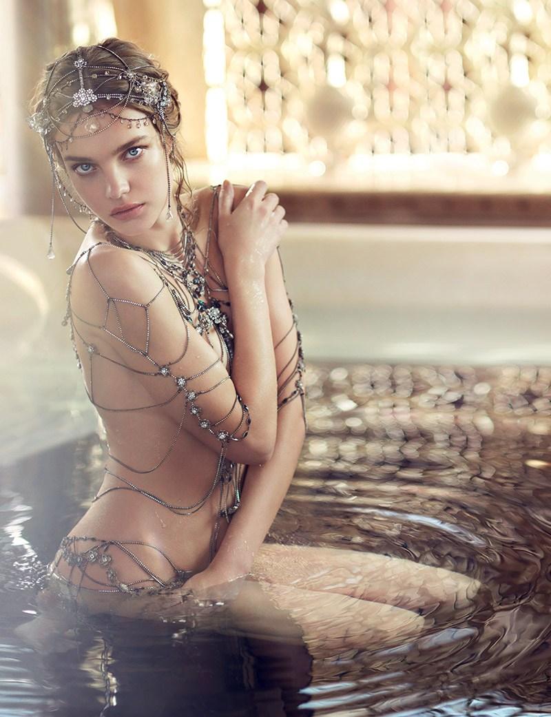 Natalia Vodianova strips for Guerlain Shalimar Souffle de Parfum Campaign