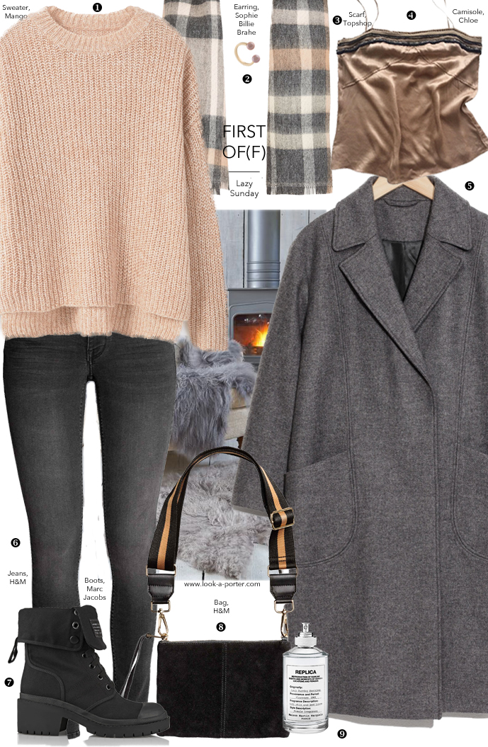 Styling peachy sweater, jeans and grey coat for a casual winter outfit for www.look-a-porter.com fashion blog