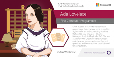 Source: Microsoft blog. Ada Lovelace was the world's firt computer programmer.