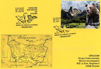 Tarjeta del matasellos PDC del sello del Parque Natural de los Picos de Europa