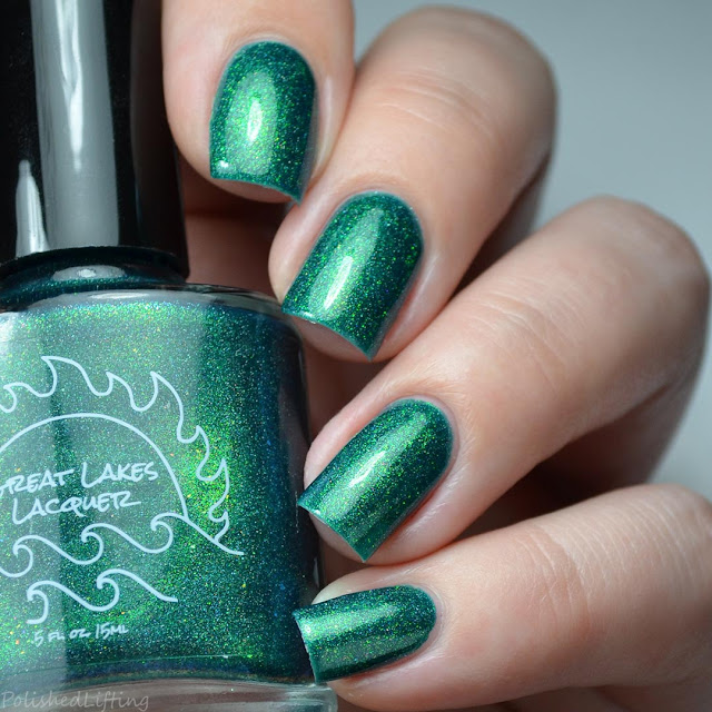 green nail polish with shifting shimmer