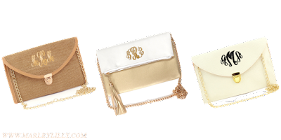 White Background of 3 Personalized Clutches
