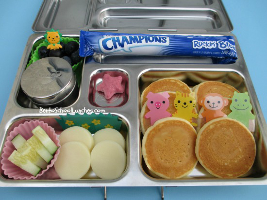Mini pancakes in Planetbox, breakfast for lunch