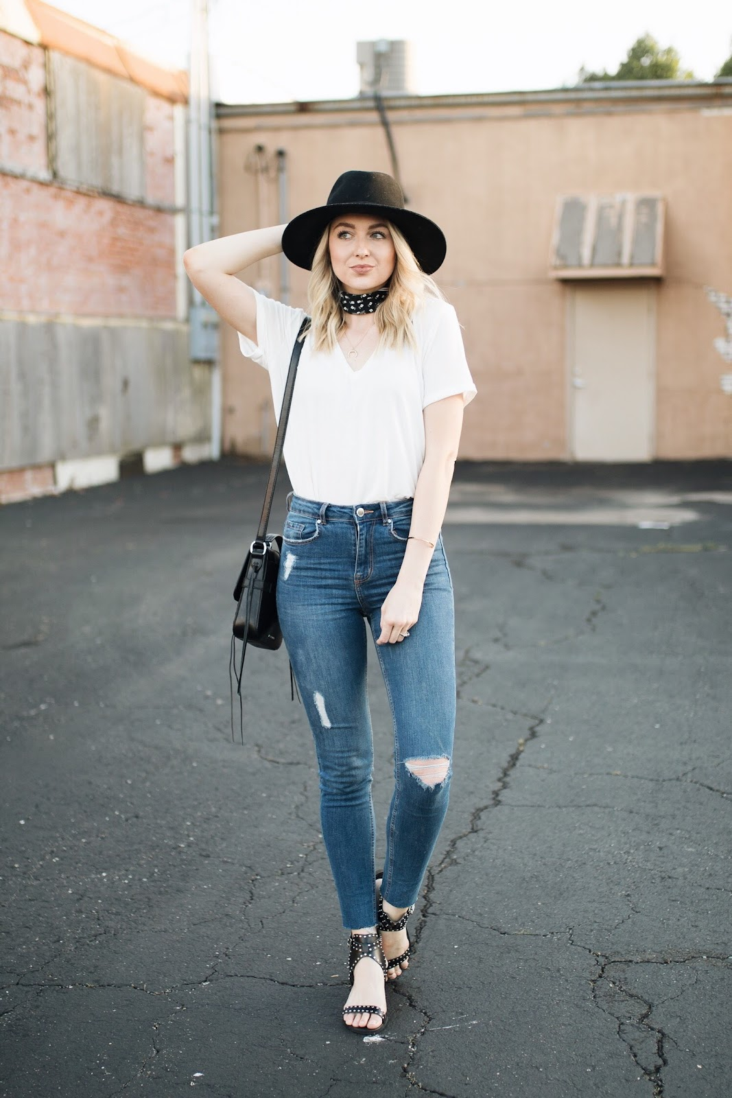 how to elevate a simple tee + jeans outfit with accessories