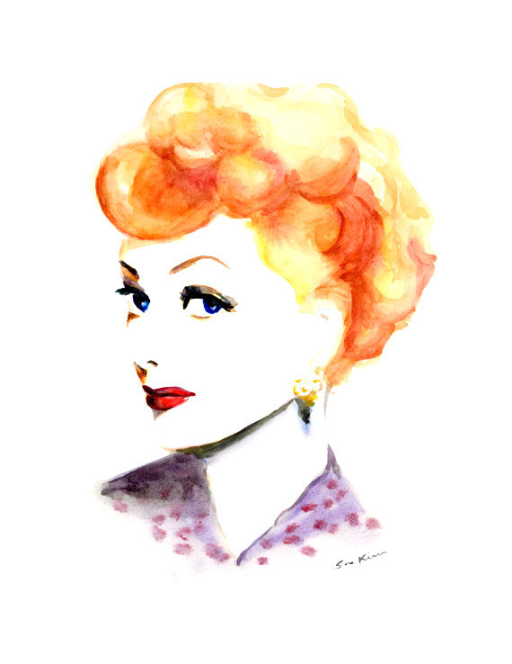 09-Lucy-Lucille-Ball-Soo-Kim-Celebrity-Watercolor-Portraits-www-designstack-co