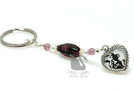 Personally Yours Purple Heart Charm Beaded Keychain (K104)