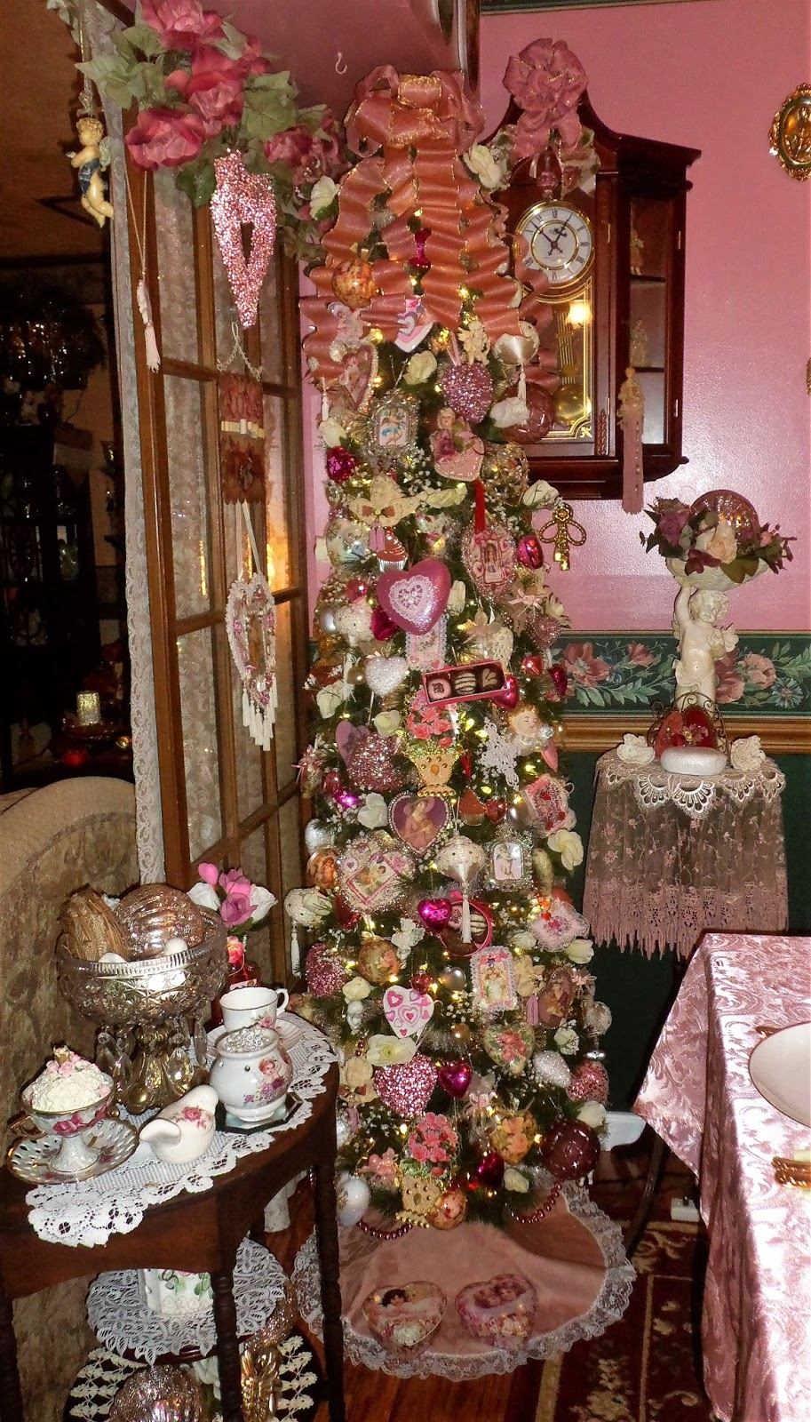 Pink Valentine's Tree in the Dining Room 2018