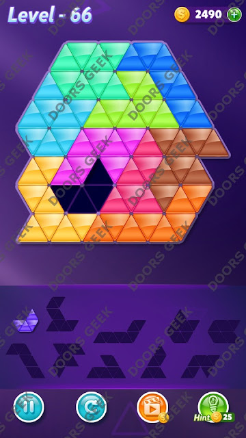 Block! Triangle Puzzle 10 Mania Level 66 Solution, Cheats, Walkthrough for Android, iPhone, iPad and iPod