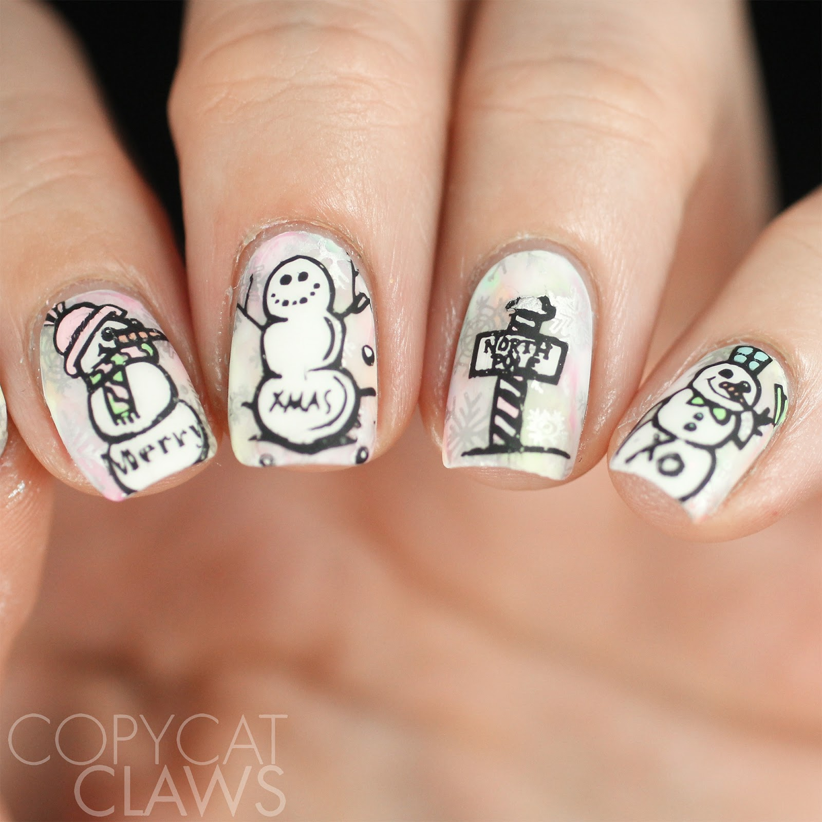 Copycat Claws: 26 Great Nail Art Ideas - Pastel Christmas