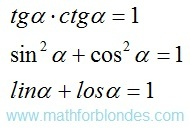 The main ratios on types of trigonometric functions. Mathematics For Blondes.