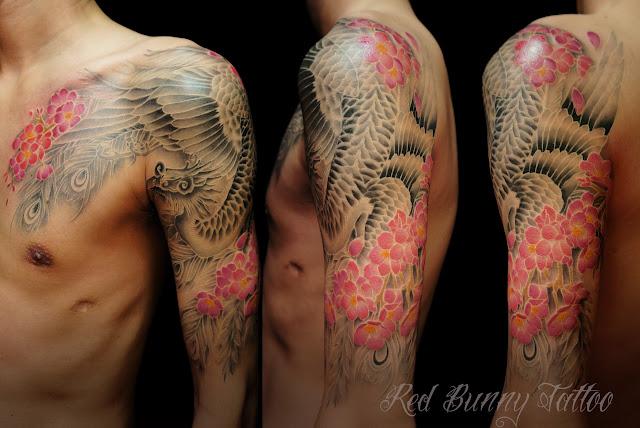 tattoo phoenix cherryblossom  タトゥー 鳳凰 sakura 桜