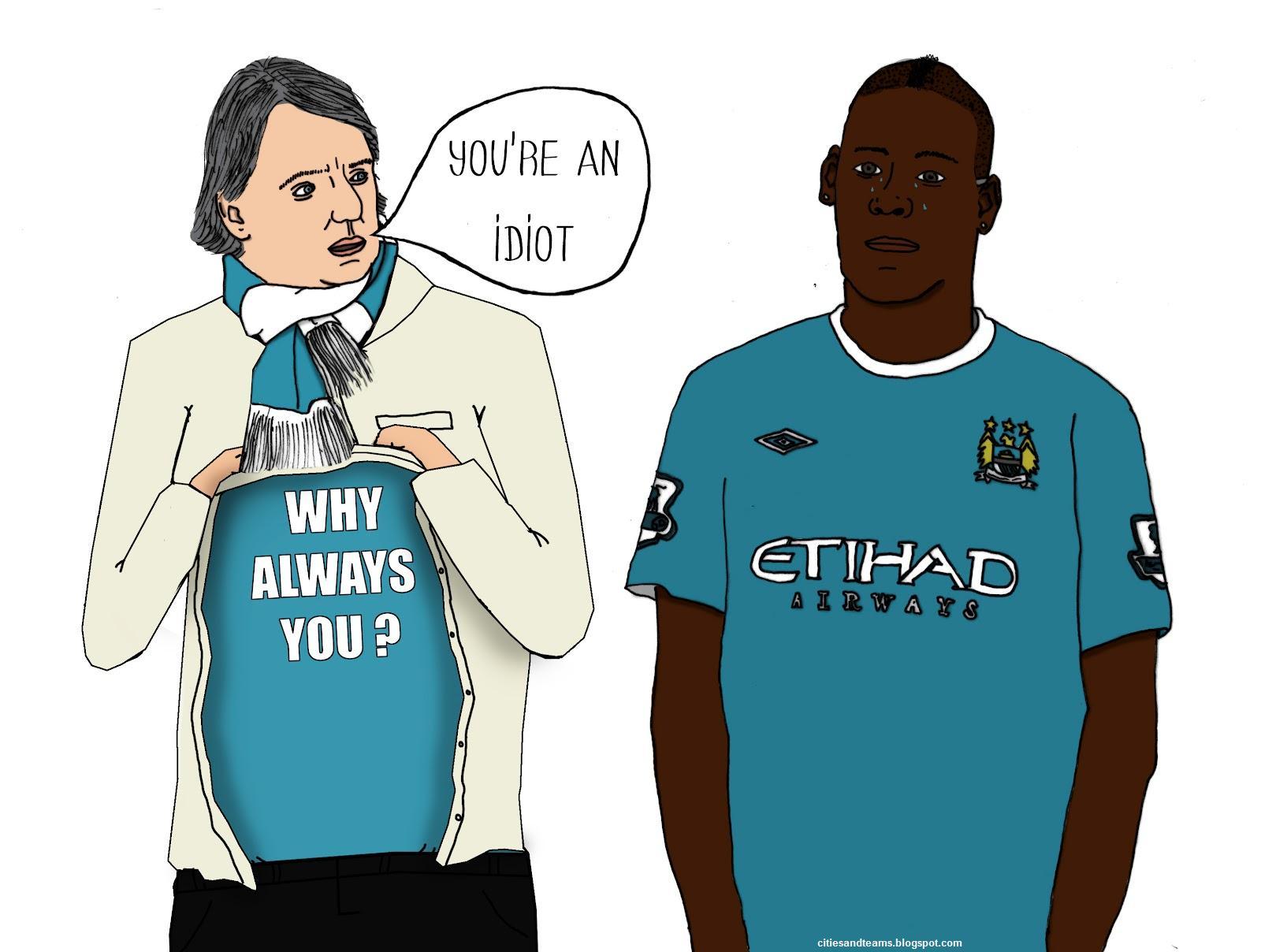Man City Funny: Mario Balotelli Roberto Mancini Funny Cartoon Manchester