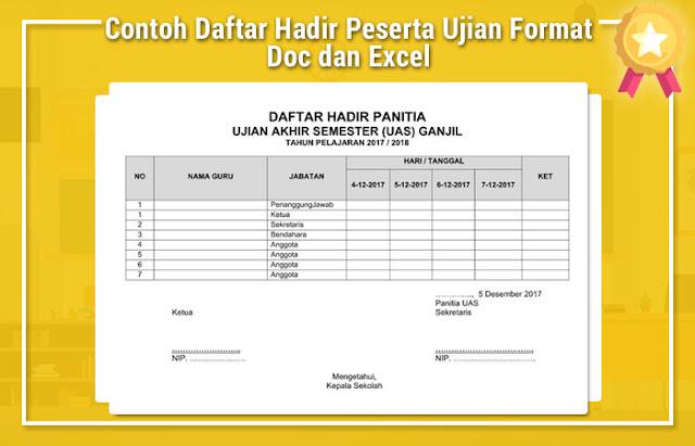 Contoh Daftar Hadir Peserta Ujian Format Doc dan Excel