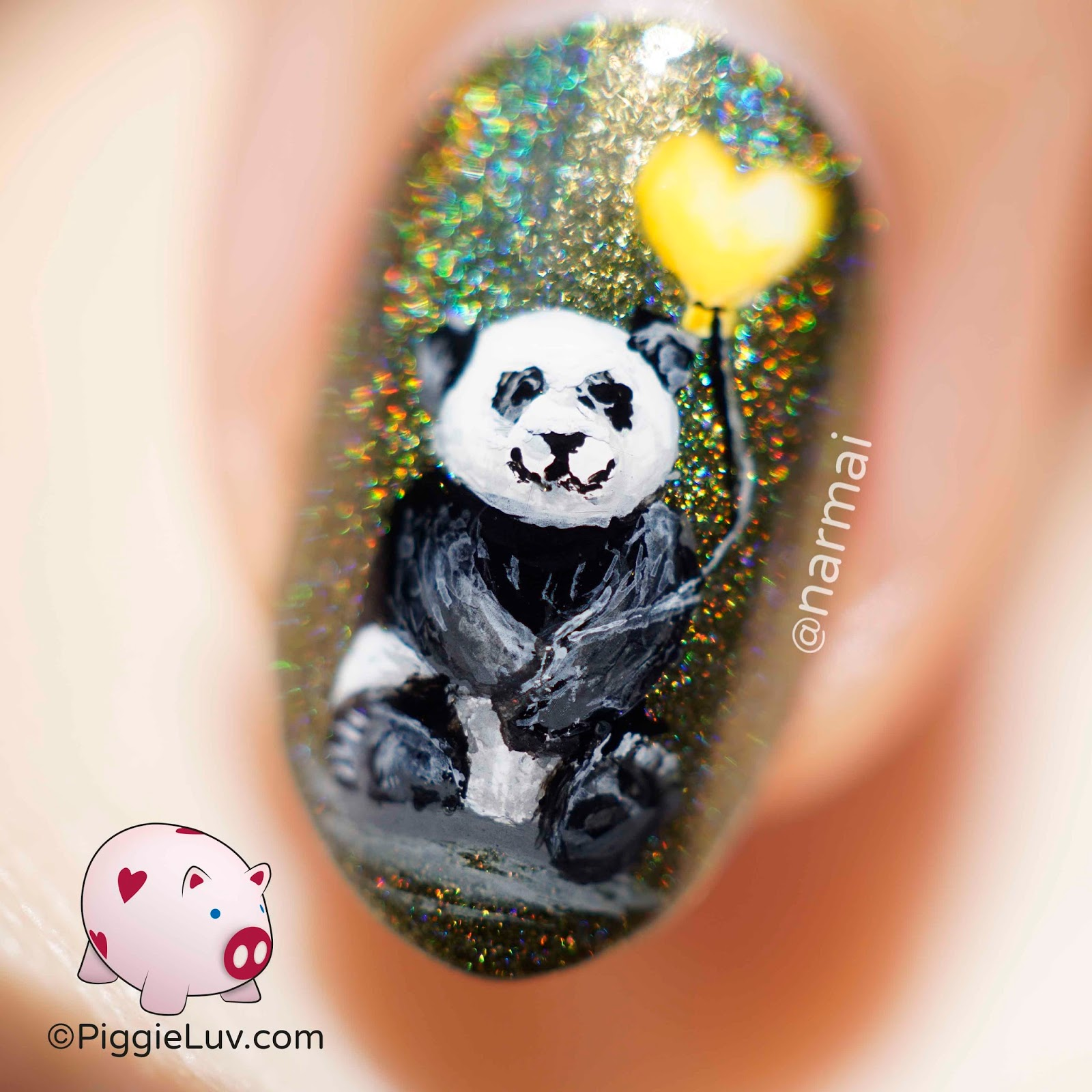 Piggieluv little panda nail art this delicious holo base polish is superchic lacquer awkward turtle but there is nothing awkward about it 3 just heavenly holo and a deep olive shade prinsesfo Image collections