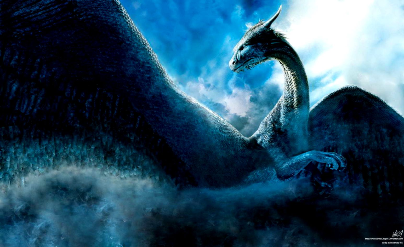 Dreamy Fantasy Blue Clouds Dragon Wallpaper List Wallpapers