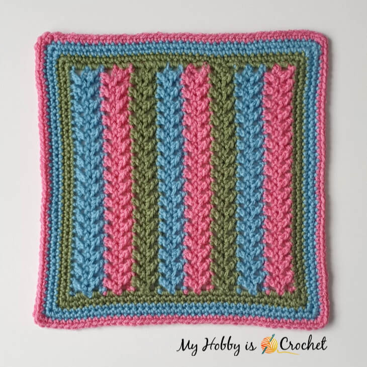 "Framed Herringbone 12"" Square - Free Crochet Pattern"
