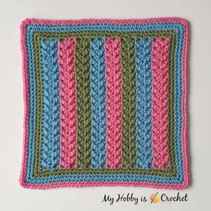 """Framed Herringbone 12"""" Square - Free Crochet Pattern"""