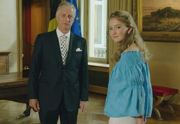 Crown Princess Elisabeth wore Maje Lova Off-the-shoulder Top. Princess Elisabet wore blue blouse by Maje