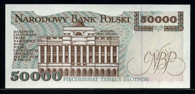Polish banknotes 50000 Zloty Zlotych banknote Warsaw Staszic Palace