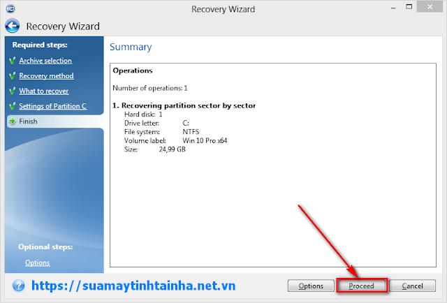 Bấm vào Proceed để bung file TIB chuẩn MBR
