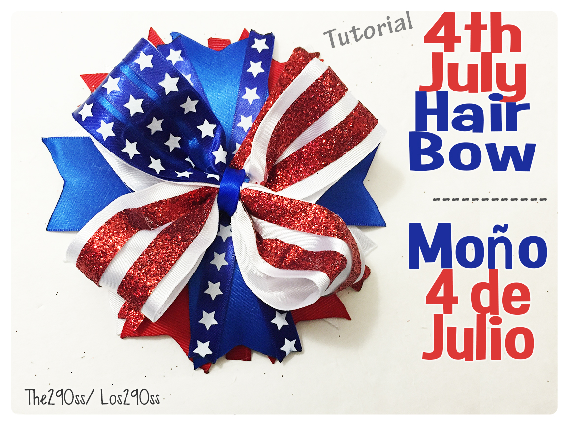 the290ss 4th of july hair bow flag inspired