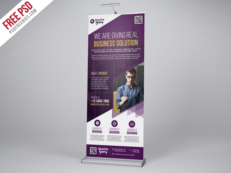 Download Creative Agency Roll Up Banner PSD | Free PSD Now