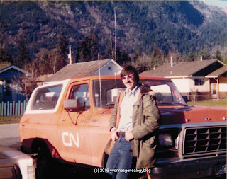 Michael Demoskoff with his CN work truck in 1981