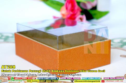 Kotak Perhiasan Persegi Motif Emboss Kombinasi Mika Ukuran Kecil
