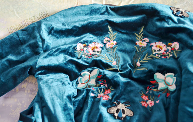 Romwe fashion review: teal blue-green velvet bomber jacket with floral applique and embroidery