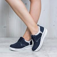 Pantofi dama Piele Sabourin bleumarin casual