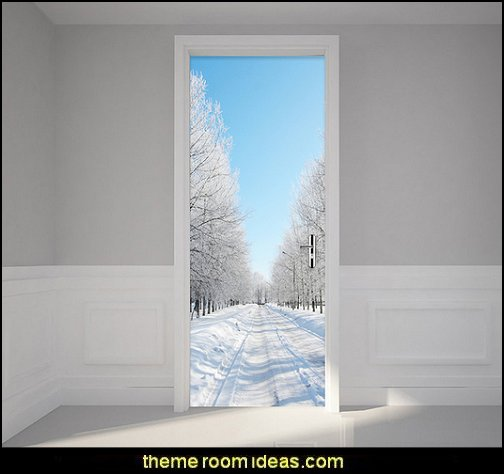 Door Mural Sticker Winter Snow Landscape   Ski cabin decorating - ski lodge decor - winter cabin decorating ski resort bedroom ideas - winter wall murals - ski chalet theme bedroom decorating ideas - modern rustic style winter cabin decor - Swiss alps decoration Alpine theme decorating - adventure bedroom design ideas - ski alps wall decal stickers - Swiss chalet mountain ski lodge murals weather themed bedroom decorating