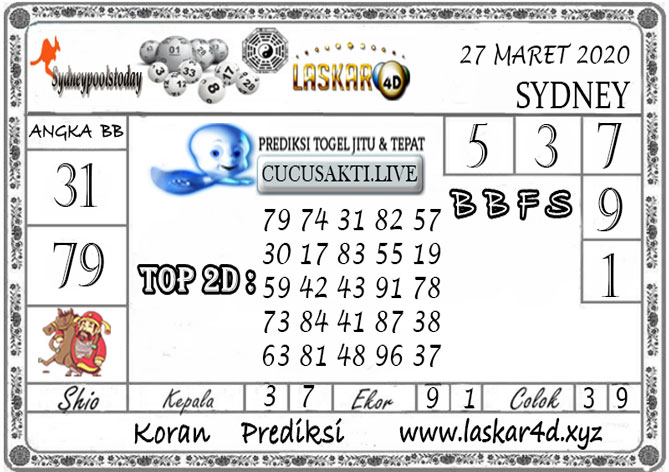 Prediksi Togel SYDNEY LASKAR4D 27 MARET 2020